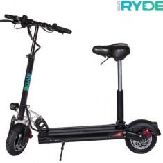 Trotineta electrica pliabila RYDE 500, Viteza maxima 45 Km/h, Autonomie 45 Km, Motor 500 W + Scaun pliabil (Negru)