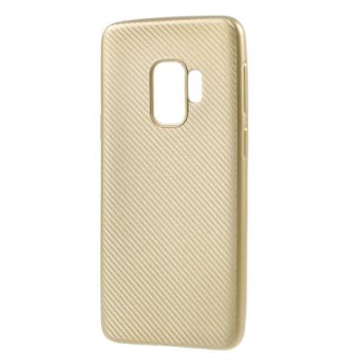 Husa Samsung S9 silicon carbon gold foto