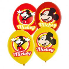 Baloane latex 28 cm inscriptionate Mickey Mouse, policromie, Amscan 9903666, Set 6 buc