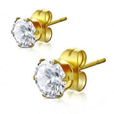 Cercei aurii din oțel, zirconiu rotund transparent, 4 mm