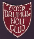 Anii '50 - Emblema vintage brodata COOP DRUMUL NOU Cluj
