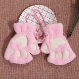 Manusi pisica neko chan cosplay cat anime otaku pufoase - roz