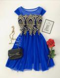 Cumpara ieftin Rochie scurta de ocazie ieftina albastra din tul cu corset brodat