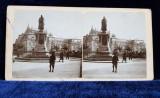 STATUIA LUI MIRON COSTIN SI TEATRUL NATIONAL DIN IASI , FOTOGRAFIE STEREOSCOPICA , MONOCROMA, PE SUPORT DE CARTON , CCA. 1900