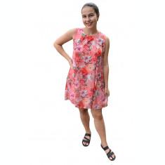 Rochie de vara Aase cu aplicatii de voal si imprimeu floral,nuanta de corai