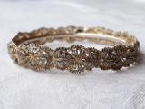 BRATARA argint TRIBALA in filigran EXCEPTIONALA vintage VECHE motive vegetale