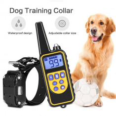 Zgarda pentru caini cu vibratii, electrosoc si sunet, telecomanda, negru, Gonga