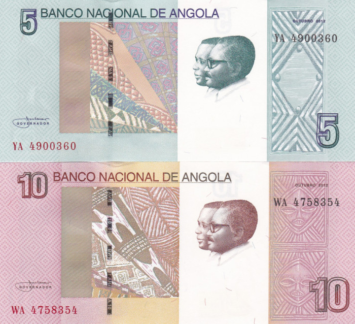 Angola Set 5,10 Kwanzas 2012 UNC