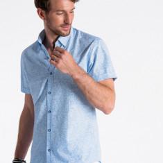 Camasa premium, cu maneca scurta, barbati - K474-albastru-alb