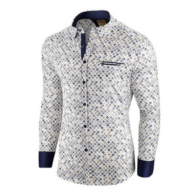 Camasa pentru barbati, alba, flex fit, cu model - Soiree d'automne foto