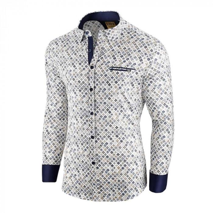 Camasa pentru barbati, alba, flex fit, cu model - Soiree d'automne