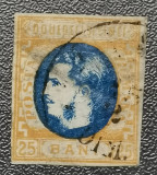 România Lp 28 Carol cu favoriți 25 bani 1869, Stampilat