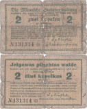 1915, 2 kapeikas (World Paper Money PNL14) - Letonia (Mitau/Jelgava)