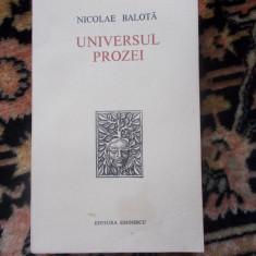 N. Balota - Universul prozei - cu dedicatia autorului