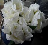 Buchet flori artificiale - Ranunculus 6 fire WHITE , înălțime 30 cm