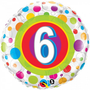Balon aniversar 6 ani din folie cu buline 43cm