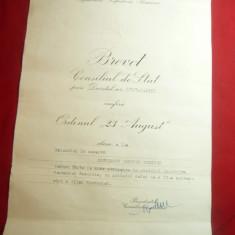 Brevet pt. Ordinul 23 August cl.V RPR , cu semnatura Chivu Stoica (probabil)