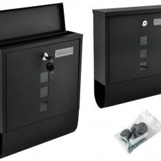Cutie Postala Metalica cu Loc pentru Reviste/Ziare, 2 Chei, Culoare Negru, Dimensiuni 34x31x10cm