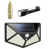 Cumpara ieftin Pachet format din 8 Lampi solare pentru exterior 100 LED-duri cu senzor de miscare cu Bricheta glont si mini lanterna cu incarcare USB