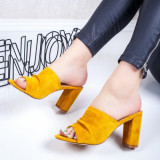Papuci dama cu toc gros galbeni Gerida-rl