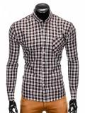 Camasa pentru barbati neagra cu model slim fit casual buzunar piept cu guler k394