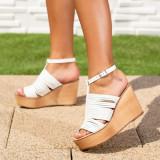 Sandale dama cu platforma albe Fridelia