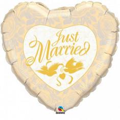 Balon nunta Just Married inima ivory din folie cu porumbei 91 cm