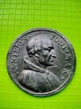 9377-Papa S. Anterus Pont. Max. Martir anul 238. Diam 3.8 cm, staniu/ plumb.