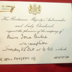 Invitatie- Antet la Receptia Ambasadei Marii Britanii ,pt. actrita Ioana Bulca
