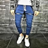 Pantaloni pentru barbati de trening albastru conici banda jos cu siret alb fermoare decorative bumbac Z0008