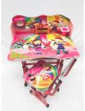 Cumpara ieftin Birou copii din MDF cu jucarii interactive, dimensiuni 68X43X65, cadru metalic, masuta copii, Roz B5