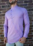 Camasa asimetrica lila- camasa barbat- camasa slim fit - cod 211