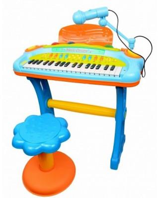Orga de jucarie cu scaunel si microfon pentru copii, 3 octave, sunete si lumini - 6617A foto