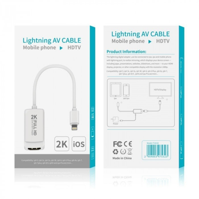 Adaptor video Lightning 8 pini la HDMI pentru iPhone 5 6 7 7 Plus 8 X Xs Xr iPad