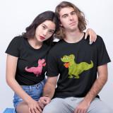 """Cumpara ieftin Set tricouri personalizate cuplu """"Dino"""" (Marime tricou barbat: M, Marime tricou..."""