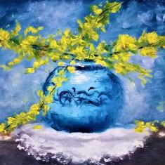 Vas cu flori galbene, Ulei, Impresionism