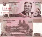 SPECIMEN COREEA DE NORD 5.000 won 2008 UNC!!!