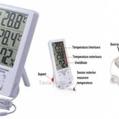 Statie meteo cu termometru pentru interior si exterior, ceas, alarma
