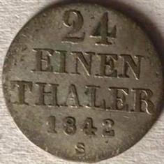 GERMANIA STATUL HANNOVER 1/24 THALER 1842 S, AG.312, KM#178.2, RARA
