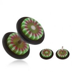 Plug fals pentru ureche din acrilic, floare cu petale verzi şi albe