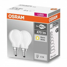 Set 2 becuri Led Osram, E14, LED BASE CLASSIC P, 4W (40W), 220-240V, 470 lumeni, 2700K