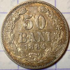 ROMANIA - 50 Bani 1884  .  Argint .  Moneda rara cu putina superba