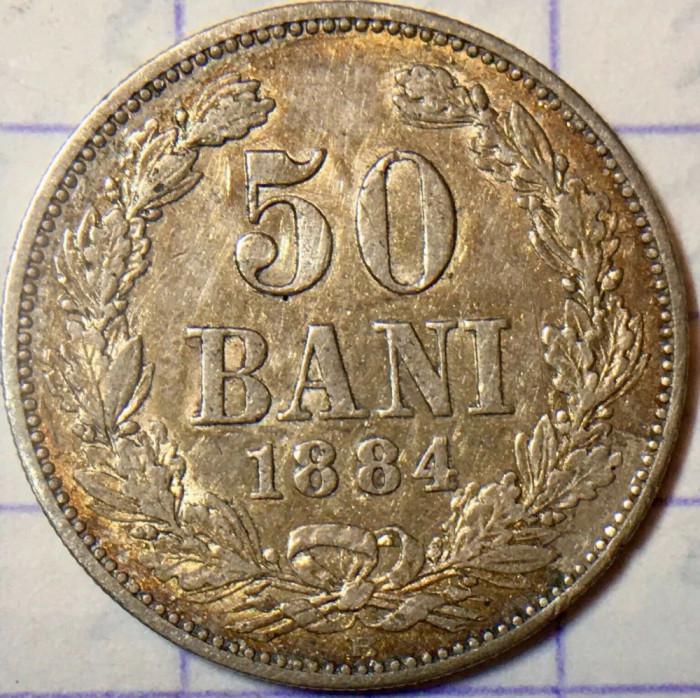 ROMANIA - 50 Bani 1884  .  Argint .  Moneda rara cu patina superba