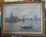 Venetia , Ulei / panza , pictor roman , inceput de secol 20 , 1