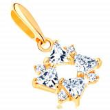 Cumpara ieftin Pandantiv din aur 585 - zirconii transparente în formă de triunghi şi zirconii mici rotunde