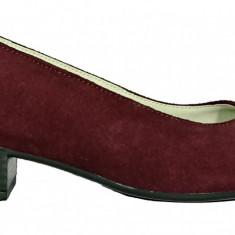 Pantofi dama casual din piele velurata grena Ninna Art 234