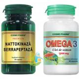 Nattokinaza Serrapeptaza 30cps + Omega 3 Ulei De Somon 30cps Pachet 1+1