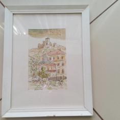 Acuarela pictura  originala semnata Slovacia Ladislav Zdvihal, Peisaje, Pastel, Altul