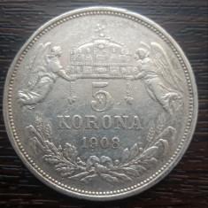 (A712) MONEDA DIN ARGINT UNGARIA - 5 KORONA 1908, FRANZ JOSEPH