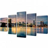 Set tablouri de perete din pânză, model podul Brooklyn, 100 x 5 cm, vidaXL